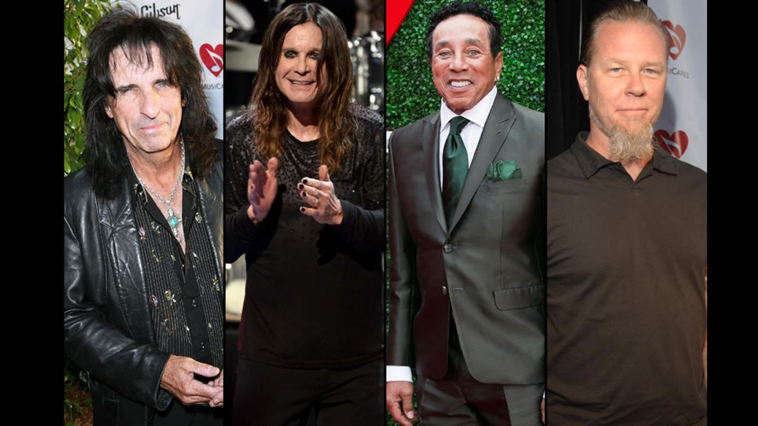 Past Stevie Ray Vaughan Award recipients, from left, Alice Cooper (2008), Ozzy Osbourne (2014), Smokey Robinson (2016) and James Hetfield (2006). (Photo courtesy of Grammy.com/Getty Images)